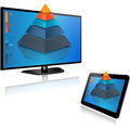Smart tv and tablet with d graph screen pyramid Stock Photo