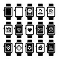 Smart watch icon set mobile and Royalty Free Stock Images