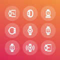 Smart watch icons set, wearable devices
