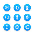 Smart watch icons set, wearable devices, gadgets
