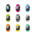 Smart watch isolated with icons full color concept. Vector Illustration