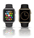 Smart watch  silver and gold color. Royalty Free Stock Photo