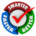 Smarter faster better words perfect choice check mark circle and on arrows around a to illustrate the ideal or best and qualities Royalty Free Stock Image
