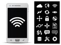 Smartphone and 18 icons Stock Image