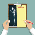 Smartphone Addiction Infographic in flat design. Clipboard in doctor hand. Medical and health care report.