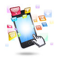 Smartphone and application icons the concept of telecommunication technologies Royalty Free Stock Photos