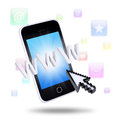 Smartphone and application icons the concept of telecommunication technologies Royalty Free Stock Photo