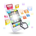 Smartphone and application icons the concept of telecommunication technologies Stock Images
