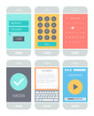 Smartphone application interface elements flat design style vector illustration concept set of modern with various abstract user Stock Photography
