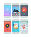 Smartphone application interface elements flat design style vector illustration concept set of modern with various abstract user Stock Photos