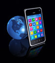 Smartphone with apps icons and world globe d isolated on black Stock Photo