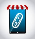 Smartphone and bandage icon. Medical and health care design. Vec