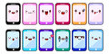 Smartphone cartoon characters funny faces. Set of Kawaii cheerful mobiles. Online apps. Flat design Vector