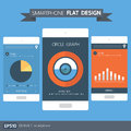 Smartphone with chart and graph flat design