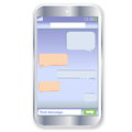 Smartphone chat mobile touch phone with sms on the screen in white background Stock Image