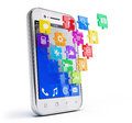 Smartphone with cloud of application icons puzzle Stock Photo