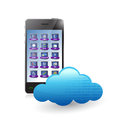 Smartphone and cloud illustration design over a white background Royalty Free Stock Photo