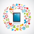Smartphone with communication icons Royalty Free Stock Photo