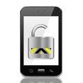 Smartphone con l icona aperta del lucchetto smart phone su backg bianco Immagini Stock Libere da Diritti