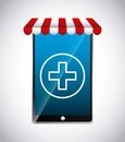 Smartphone and cross icon. Medical and health care design. Vecto