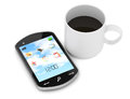 Smartphone and cup of coffee on white d rendered image Royalty Free Stock Photos