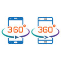 Smartphone 360 degree rotation line icon, outline and solid vect