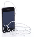 Smartphone and earphones Royalty Free Stock Photo