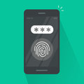 Smartphone with fingerprint button and password field vector, concept of security, login, protection technology