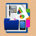 Smartphone with folder and graph  on notebook,creative business, Stock Photos
