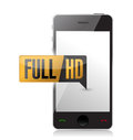Smartphone with full hd high definition button illustration design Royalty Free Stock Photo