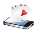 Smartphone Gambling - Poker Aces. Online gambling Royalty Free Stock Images
