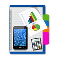 Smartphone with graphs and calculator on notebook,creative busin Royalty Free Stock Photo