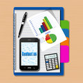 Smartphone with graphs and calculator on notebook,creative busin Stock Image