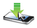 Smartphone with green arrow download concept illustration design Royalty Free Stock Photos