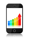 Smartphone growth with growing business statistical graph on white background Stock Image
