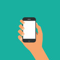 Smartphone in hand illustration of flat design Stock Photography