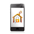 Smartphone and home security concept illustration design over white Stock Photo