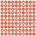 100 smartphone icons hexagon orange