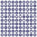 100 smartphone icons hexagon purple
