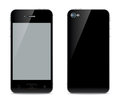 Smartphone illustration black with a touchscreen the front and back sides Stock Images