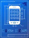 Smartphone like blueprint drawing Stock Photography