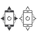 Smartphone line icon, outline and solid vector sign, linear and