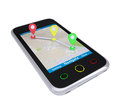 Smartphone with a map marked with the waypoints Royalty Free Stock Photos