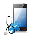 Smartphone medical app with a stethoscope illustration design over white Stock Photo
