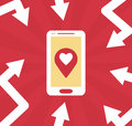 Smartphone mobile gps flat illustration with arrows and symbol Royalty Free Stock Photo