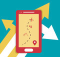 Smartphone mobile gps flat illustration with arrows and symbol Stock Photos