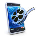 Smartphone mobile video on white background Royalty Free Stock Image