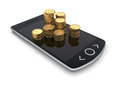 Smartphone with money coins rendered concept of a Stock Photography
