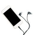 Smartphone music player and earbuds Royalty Free Stock Photo