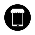 Smartphone with parasol icon